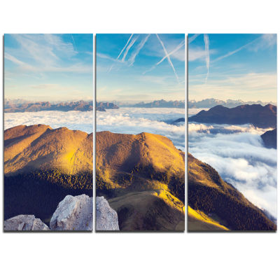 Designart Fantastic View Of Val Gardena Valley Extra Large Seashore Triptych Canvas Art
