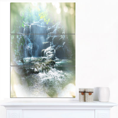 Designart Fantastic Waterfall In Mexico Jungle Oversized Landscape Canvas Art - 3 Panels