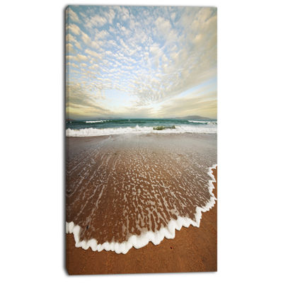 Designart Fantastic Waves And Clouds In Beach Large Seashore Canvas Print