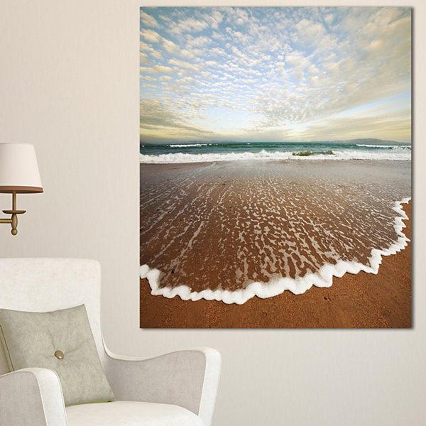 Designart Fantastic Waves And Clouds In Beach Large Seashore Canvas Print - 3 Panels