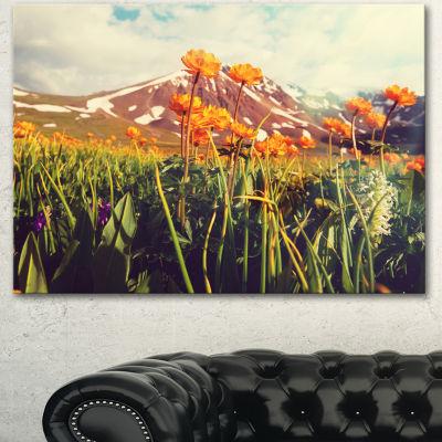 Designart Fantastic Yellow Flowers In Meadow LargeFlower Canvas Wall Art - 3 Panels