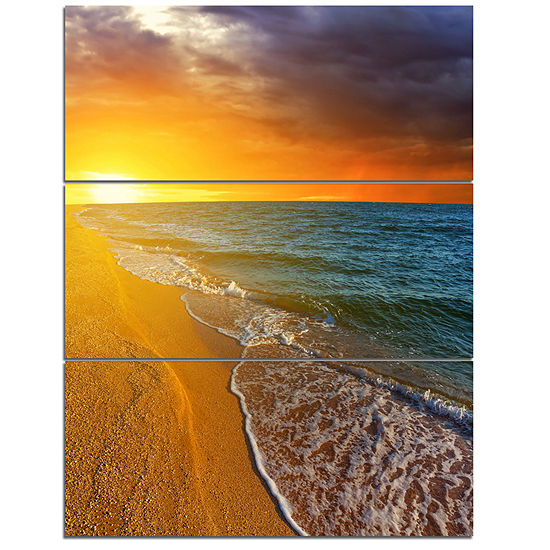 Designart Fantastic Yellow Sky In Blue Beach LargeSeashore Triptych Canvas Print