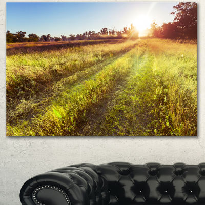 Designart Farm Road In Rural Meadow Landscape Canvas Art Print - 3 Panels