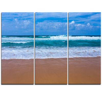 Designart Fascinating Atlantic Beach In PortugalSeascape Triptych Canvas Art Print