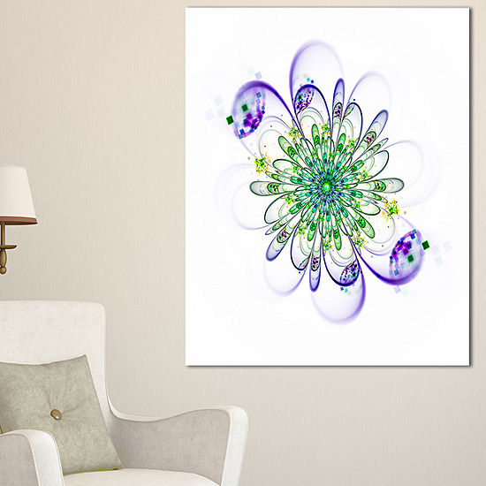 Designart Fascinating Green Purple Fractal Flowerfloral Canvas Art Print