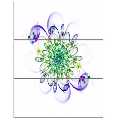 Designart Fascinating Green Purple Fractal FlowerFloral Triptych Canvas Art Print