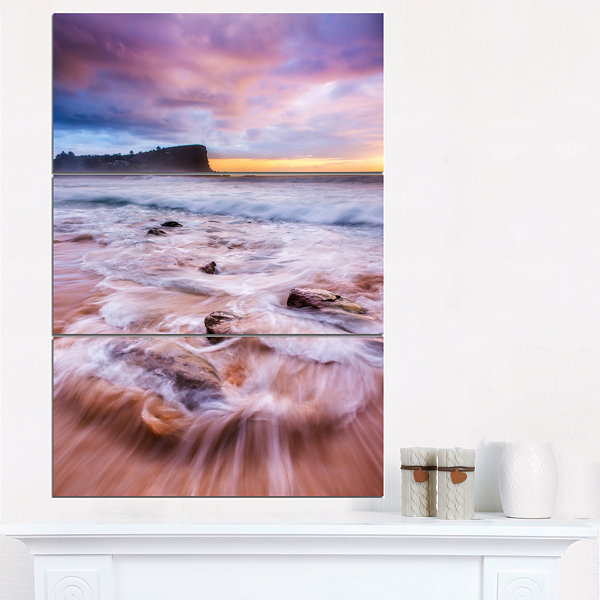 Designart Fascinating Seashore With White WatersLarge Seashore Triptych Canvas Print