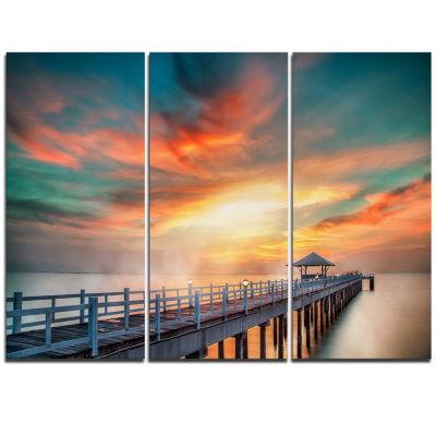 Designart Fascinating Sky And Wooden Bridge PierSeascape Triptych Canvas Art Print