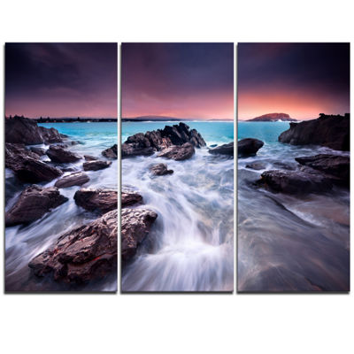 Designart Fascinating View Of Rocky Coast SeascapeTriptych Canvas Art Print