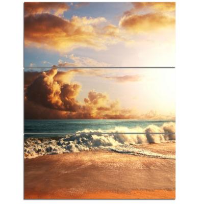 Designart Fast Moving Dark Clouds Over Beach Modern Beach Triptych Canvas Art Print