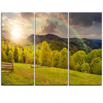 Designart Fence On Hillside Meadow Panorama Landscape Artwork Triptych Canvas