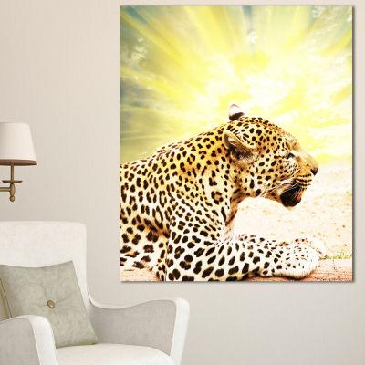 Designart Ferocious Leopard At Sunrise Animal Canvas Art Print - 3 Panels