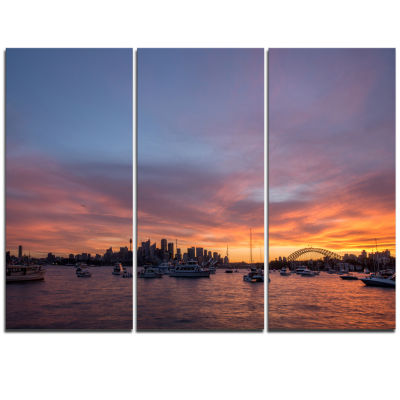 Designart Ferry In Sydney Harbor At Sunset Landscape Triptych Canvas Art Print