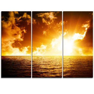 Designart Fiery Sunlight In Beach During Sunset Seascape Triptych Canvas Art Print