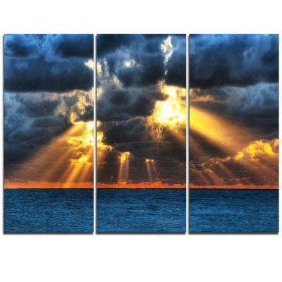 Designart Fight Between Dark And Light Landscape Artwork Triptych Canvas