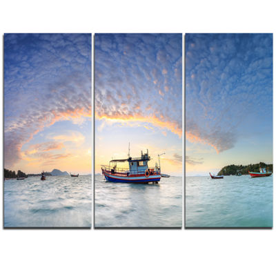 Designart Fishing Boat At Phuket Sunrise Beach Modern Seascape Triptych Canvas Artwork