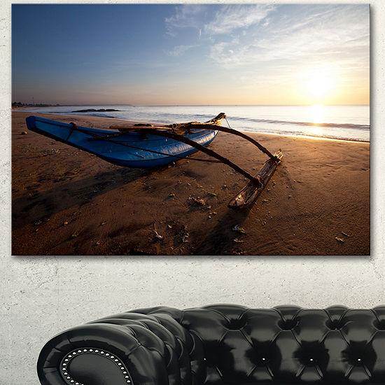 Designart Fishing Boat In Sri Lanka Beach Large Seashore Canvas Print