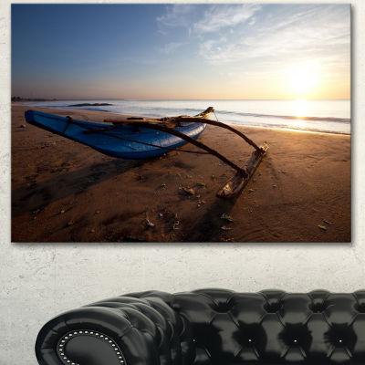 Designart Fishing Boat In Sri Lanka Beach Large Seashore Canvas Print - 3 Panels
