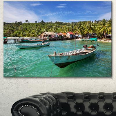 Designart Fishing Boats In Kep Cambodia SeashoreCanvas Art Print