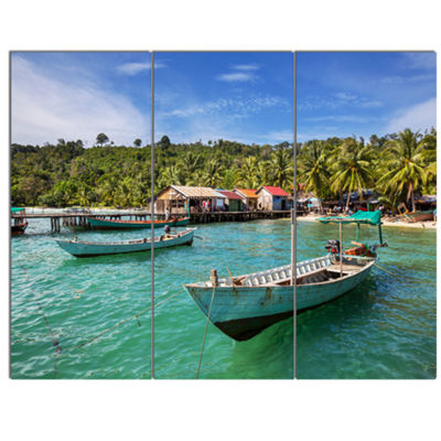 Designart Fishing Boats In Kep Cambodia SeashoreCanvas Art Print - 3 Panels
