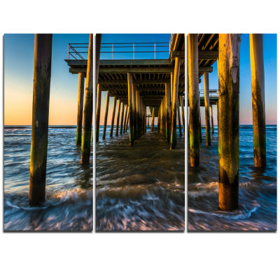 Designart Fishing Pier And Waves At Atlantic SeaPier Seascape Triptych Canvas Art Print