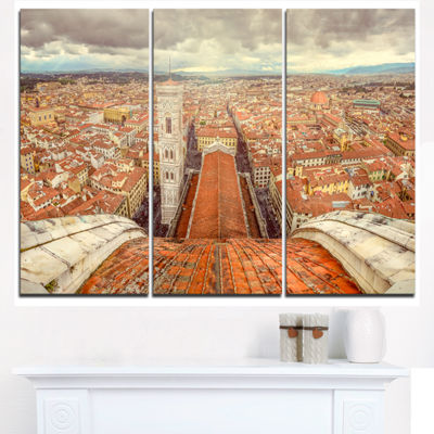 Designart Florence View From Duomo Cathedral Cityscape Triptych Canvas Print