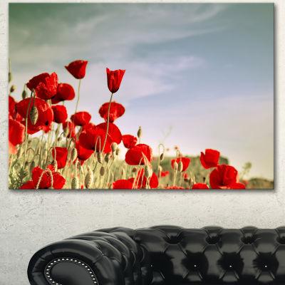 Designart Flourishing Red Poppies Floral Canvas Art Print - 3 Panels