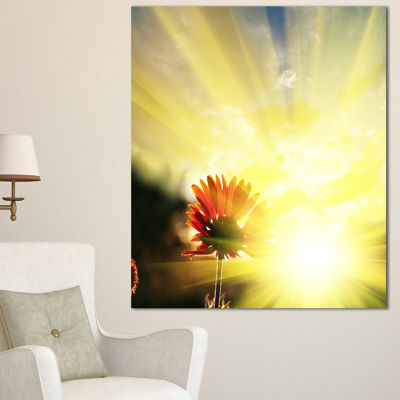 Designart Flower Against Bright Yellow Sunset Floral Canvas Art Print - 3 Panels