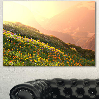 Designart Flowering Mountain Meadow View OversizedLandscape Canvas Art - 3 Panels