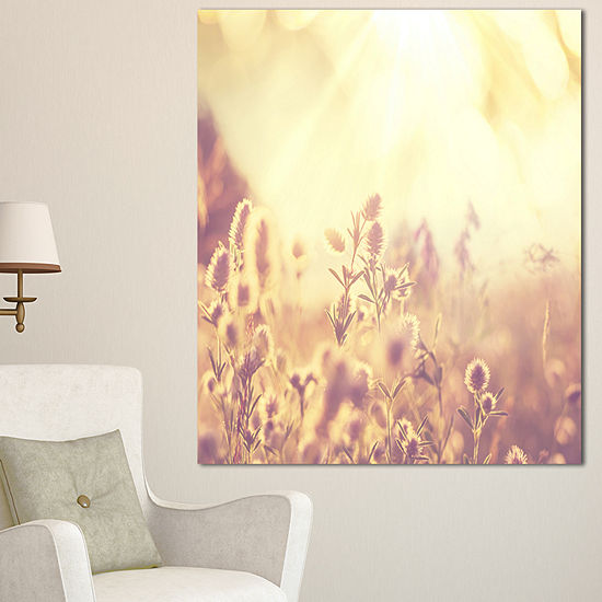 Designart Flowers In Mountain Meadow At Sunset Large Flower Canvas Wall Art
