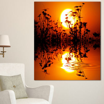 Designart Flowers Silhouette View At Sunset ExtraLarge Landscape Canvas Art - 3 Panels
