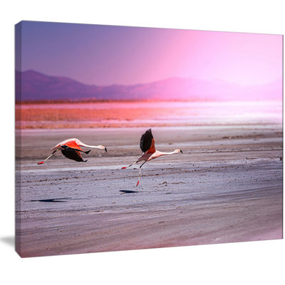 Designart Flying Pair Of Cute Flamingos Animal Canvas Art Print