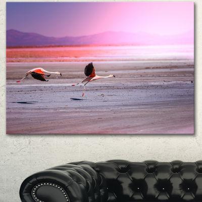 Designart Flying Pair Of Cute Flamingos Animal Canvas Art Print - 3 Panels