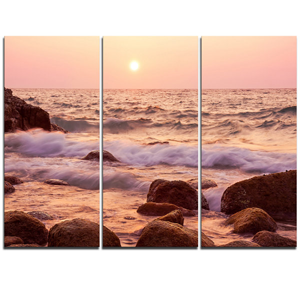 Designart Foam Waves Hitting Rocky Coast Large Seashore Triptych Canvas Print