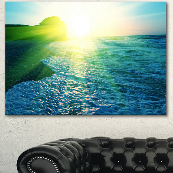 Designart Foaming Blue Waves Seashore Canvas ArtPrint
