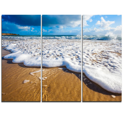 Designart Foaming Ocean Waves On Sand Extra LargeSeascape Art Triptych Canvas