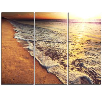 Designart Foaming Waves At Sea Sunset Modern BeachTriptych Canvas Art Print