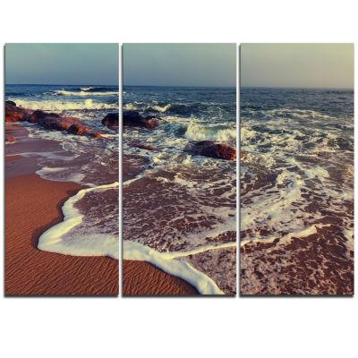 Designart Foaming Waves Kissing Wide Beach Large Seashore Triptych Canvas Print