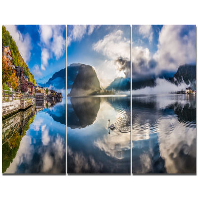 Designart Foggy Alpine Village Panorama LandscapeTriptych Canvas Art Print