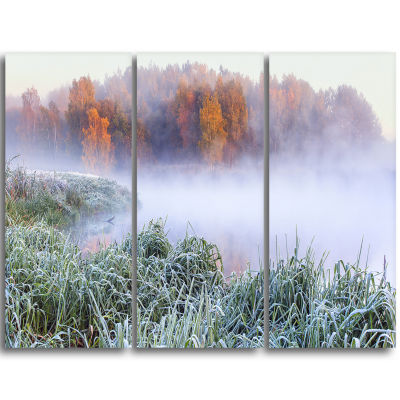 Designart Foggy Autumn Dawn Panorama Landscape Print Wall Artwork