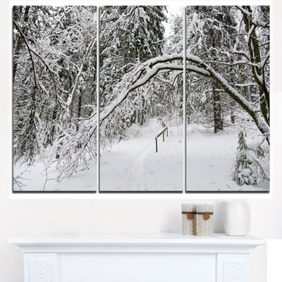 Designart Foggy Black And White Winter Forest Modern Forest Triptych Canvas Art
