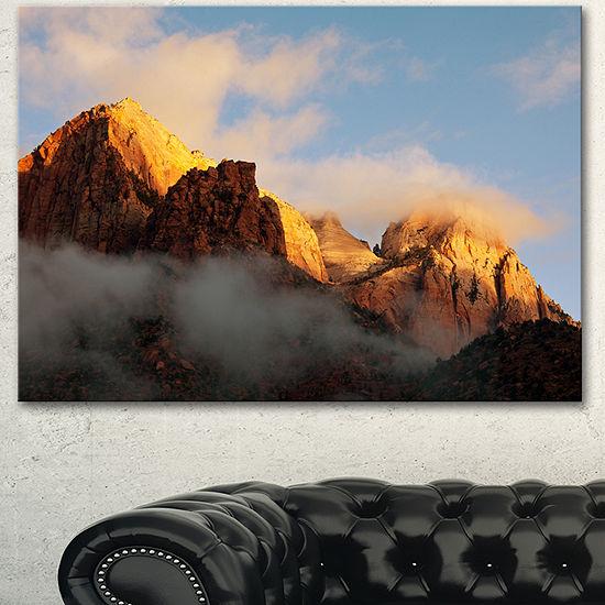 Designart Foggy Hills In Zion National Park Oversized Landscape Canvas Art