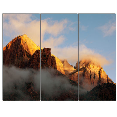 Designart Foggy Hills In Zion National Park Oversized Landscape Canvas Art - 3 Panels