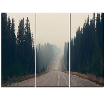 Designart Foggy Road In Forest In Banff Park Modern Seascape Triptych Canvas Artwork