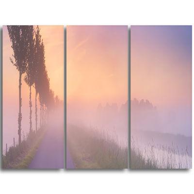 Designart Foggy Sunrise In The Netherlands Extra Large Wall Art Landscape