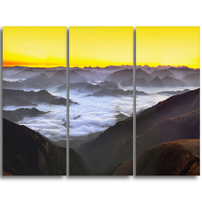 Designart Foggy Sunrise Over Mountains Landscape Triptych Canvas Art Print