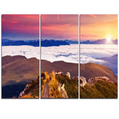 Designart Foggy Val Gardena Valley Panorama ExtraLarge Seashore Triptych Canvas Art