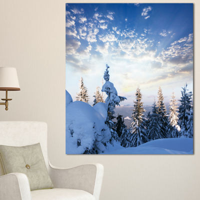 Designart Foggy White Winter Forest Landscape WallArt On Canvas