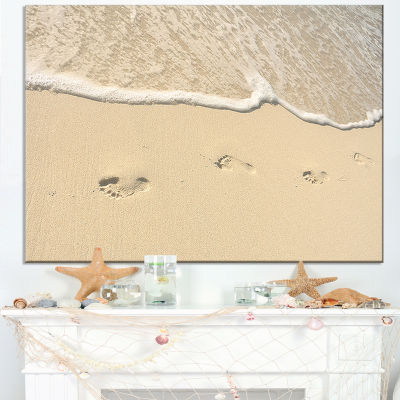 Designart Footprints In Sand On The Beach Modern Seascape Canvas Artwork