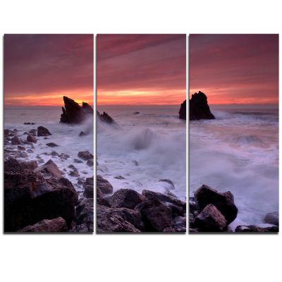 Designart Force Of Sea Hitting Rocky Coast Seashore Triptych Canvas Art Print